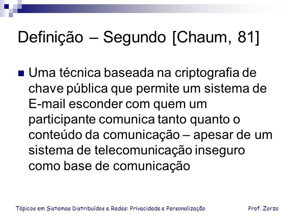 Definição – Segundo [Chaum, 81]